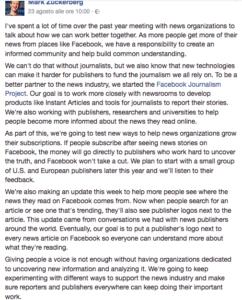 il post di mark zuckerberg facebook marketing & journalism